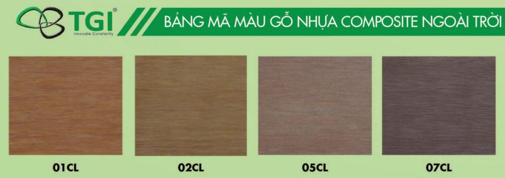 màu gỗ nhựa composite ngoài trời