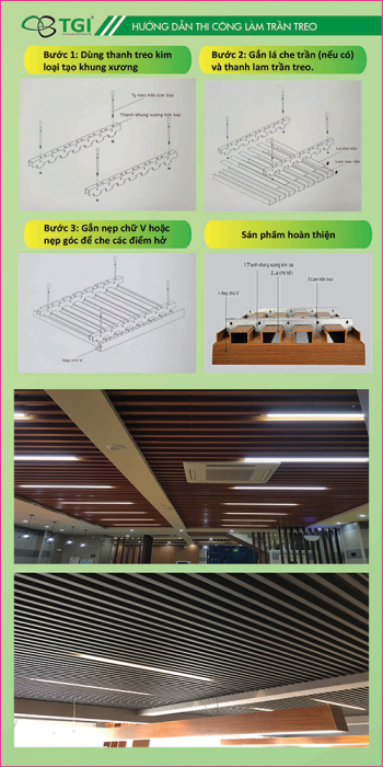 ướng dẫn thi công trần gỗ nhựa composite